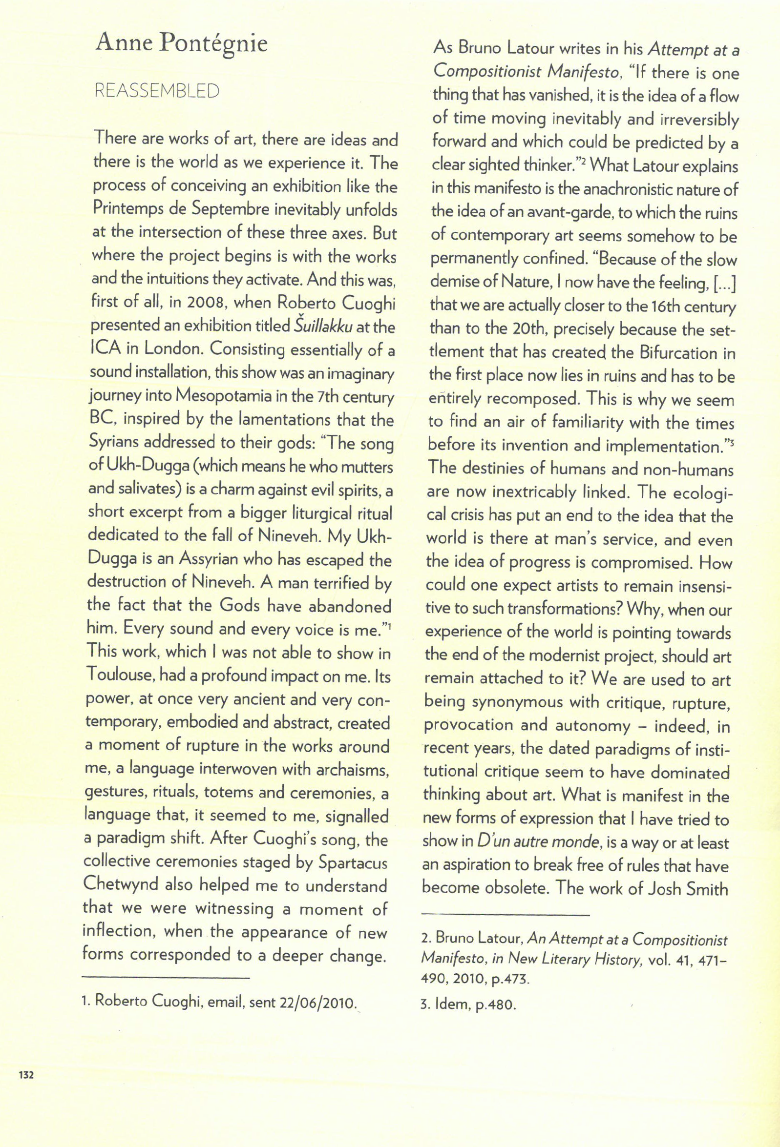 """Anne Pontégnie, """"Reassembled,"""" in: Le Printemps de Septembre à Toulouse: festival de création contemporaine. """"D'un Autre Monde"""". Dijon: Les Presses du Réel, 2011, p.132-136."""