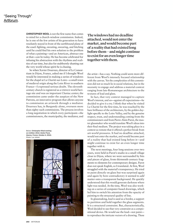 """Anne Pontégnie, """"Seeing Through"""", Artforum 52/3 (2013), P.248-251."""