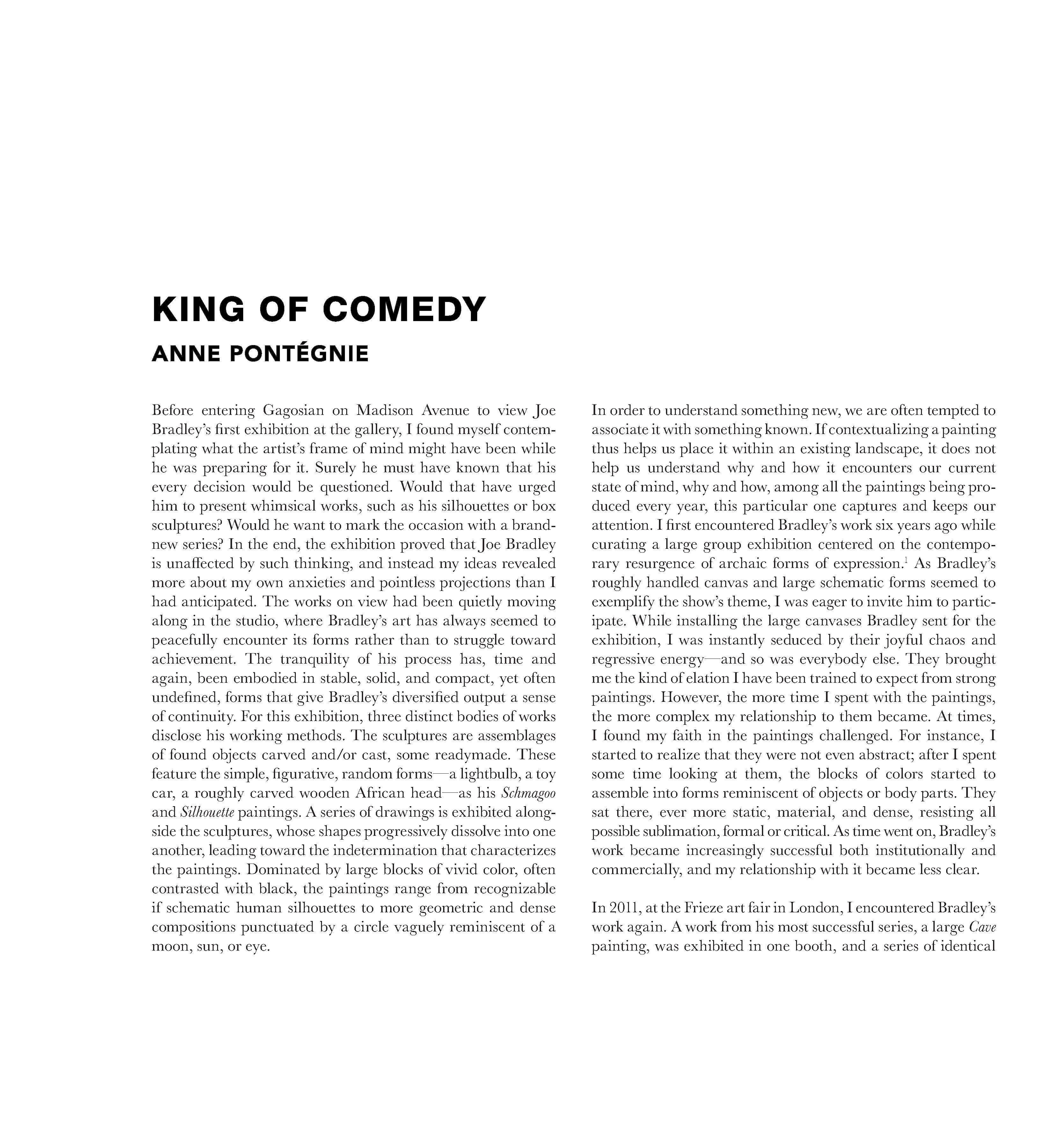 "Anne Pontégnie, ""King of Comedy"" in: Joe Bradley. Krasdale. New York: Gagosian, 2017."