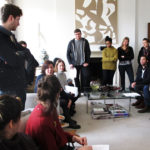 Workshop with MFA Curating students from Goldsmiths College, 2015. Cranford Collection, London.